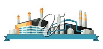 Illustration with factories or industrial buildings. Urban manufactory landscape of constructions.