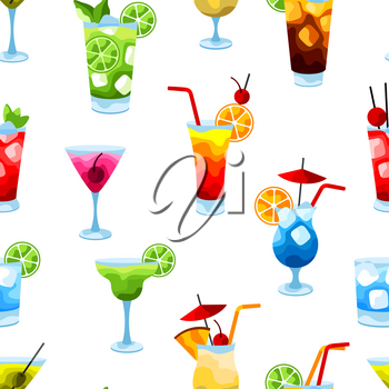 Alcohol cocktails seamless pattern. Stylized image of alcoholic beverages and drinks.