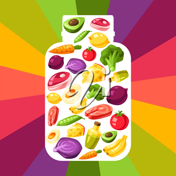 Vitamin food sources illustration. Healthy eating and healthcare concept.