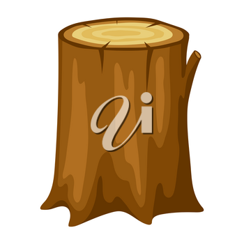 Illustration of tree stump. Adversting icon or image for forestry and lumber industry.