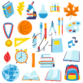 School and education items. Set of colorful supplies and stationery.