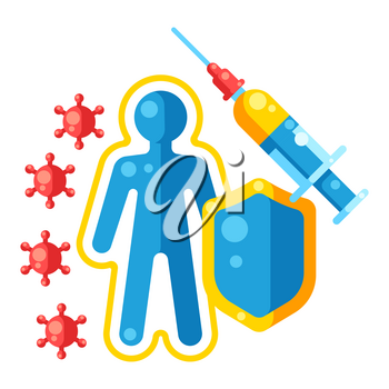 Vaccination concept illustration. Immunization items. Health care and protection from virus. Medical and scientific industry.