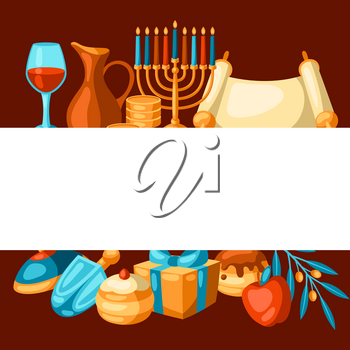 Happy Hanukkah background with religious symbols. Illustration with holiday objects. Celebration traditional items.