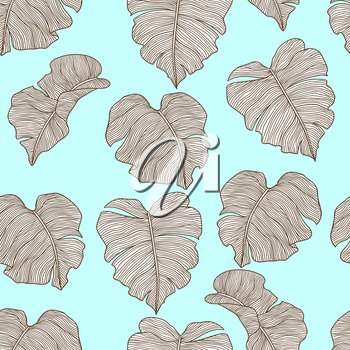Seamless pattern with stylized palm leaves. Decorative image of tropical foliage and plants. Linear texture.