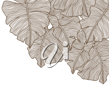 Background with stylized palm leaves. Decorative image of tropical foliage and plants. Linear texture.