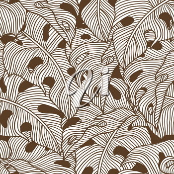 Seamless pattern with stylized monstera palm leaves. Decorative image of tropical foliage and plants. Linear texture.
