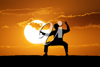 Silhouette warrior motorcycle. Element of martial art design.
