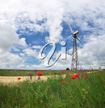 Wind power station. Energy industry.