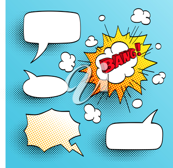 Set of speech comic bubbles. Comic sound effect. Vector illustration.