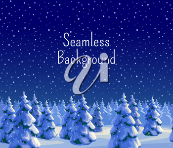 Winter seamless background with fir forest. Greeting card template. New year and Xmas Holidays design. Vector illustration.