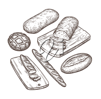 Bread set. Hand drawn vector illustration. Isolated on white background. Vintage style.