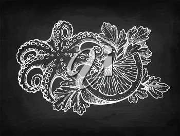 Octopus with lemon and parsley. Seafood chalk sketch on blackboard background. Hand drawn vector illustration. Retro style.