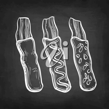 Chocolate-covered bacon. Chalk sketch on blackboard background. Hand drawn vector illustration. Retro style.