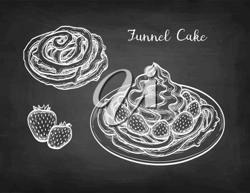 Funnel cake with strawberries and whipped cream. Chalk sketch on blackboard background. Hand drawn vector illustration. Retro style.