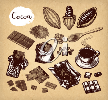 Cocoa and chocolate set. Ink sketch on old paper background. Hand drawn vector illustration. Retro style.