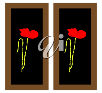 Gentle floral background with red poppies. Paintings and still life with red poppies flowers. Patterns