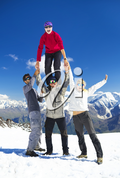 Tourist team on mountain top. Active life concept