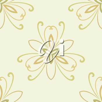 Floral vector oriental pattern with damask, arabesque and floral elements. Light seamless abstract wallpaper and background