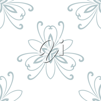 Floral vector oriental pattern with damask, arabesque and floral blue elements. Light seamless abstract wallpaper and background