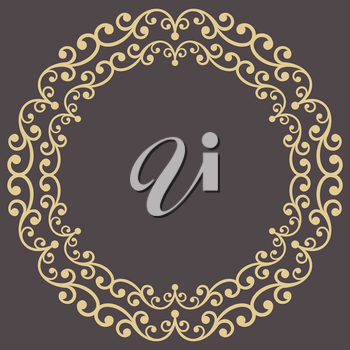 Oriental vector round golden frame with arabesques and floral elements. Floral border with vintage pattern. Greeting card with place for text