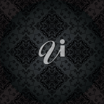 Pattern in the style of Baroque. Seamless vector background. Damask floral dark texture with orient and floral elements