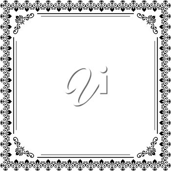 Classic vector black and white square frame with arabesques and orient elements. Abstract ornament with place for text. Vintage pattern