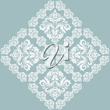 Oriental vector pattern with white arabesques and floral elements. Traditional classic ornament. Vintage pattern with arabesques