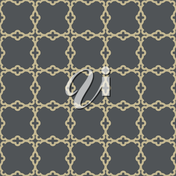 Geometric vector pattern with oriental elements. Seamless golden grill with abstract ornament