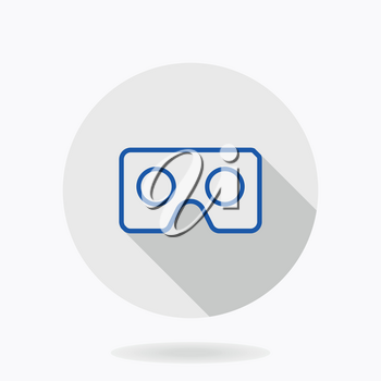 Fine vector icon with blue VR logo in circle. Flat design with long shadow. Virtual reality logo