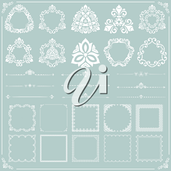 Vintage set of vector horizontal, square and round elements. Different elements for backgrounds and frames. Classic light blue and white patterns. Set of vintage patterns