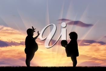 Thick happy children playing ball at sunset. Concept obesity