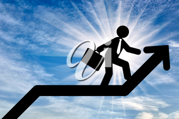 Concept of business purpose. Businessman with briefcase walking on the arrow chart up