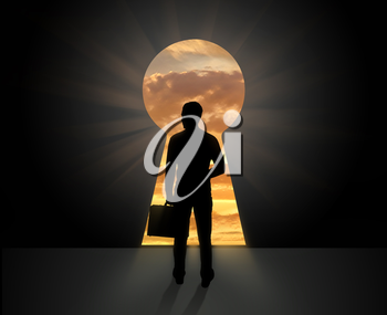 The concept of business vision for the future . Silhouette of businessman standing in front of the doors keyhole
