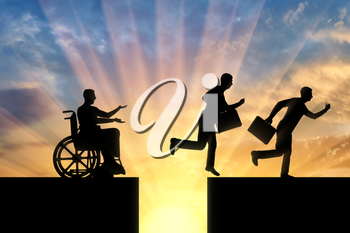 The silhouette of a disabled worker in a wheelchair stopped before an abyss and healthy workers jump over the abyss and run on. The concept of inequality of people with disabilities
