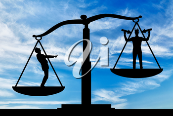 Silhouette of an ordinary man on scales of justice, he is in priority and he laughs at a selfish man with a crown on his head. The concept of egoism as a problem in a normal society