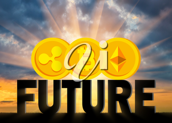 Coins Bitcoin, Ethereum, Ripple on the word future. The concept of the future behind a crypto currency