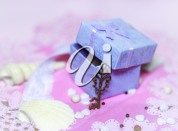 Open gift box. Shallow depth of field.