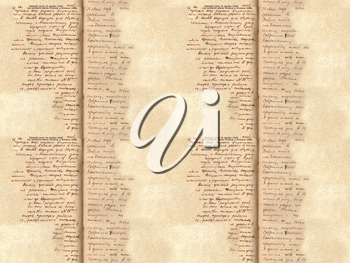 Seamless texture of old paper with handwritten text.