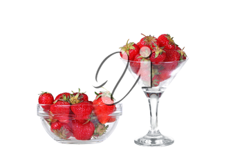 Transparent glass bowl with strawberries on white background