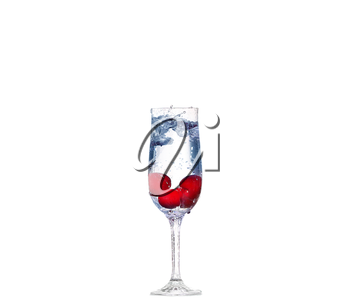 cherry splash in a cocktail glass on white