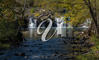 Sandstone Falls National Park on New River in autumn in West Virginia