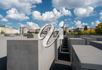 SEPTEMBER 17 - BERLIN, GERMANY: Holocaust Memorial on September 17, 2017 in Berlin. It opened in May 2005.