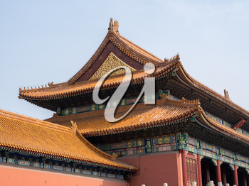 Details of the pottery roof tiles and carvings on Palace Museum in the Forbidden City in Beijing