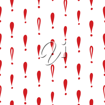 Abstract symbol white ornament.  Exclamation mark seamless pattern. Sign background