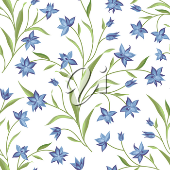 Flowers seamless pattern. Floral summer bouquet tile background. Meadow nature decor with wildflower