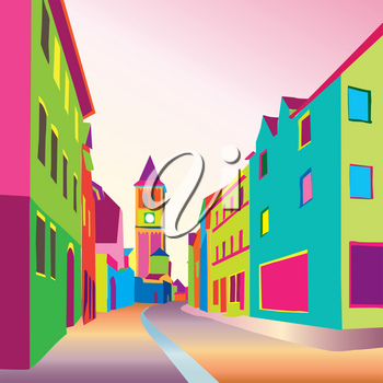 Funky journey. Pedestrian street in European city. Colorful panorama city vector background in 1960s pop art style.