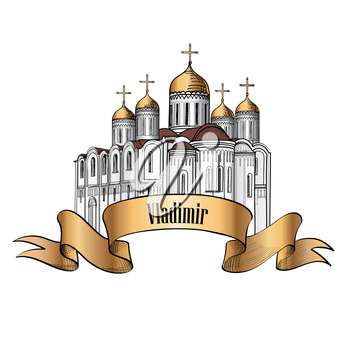 Dormition Cathedral in Vladimir. Ancient russian city symbol. Travel Russia icon. Hand drawn sketch cathedral.