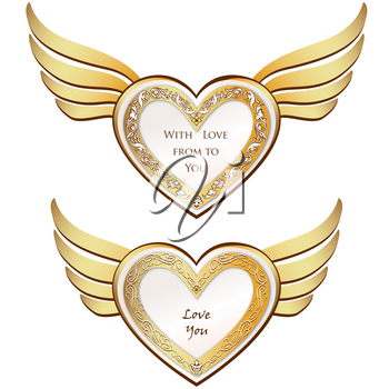 Golden Wing Heart Set. Love hearts pattern for Valentine's day holiday ornamental decor element. Good for greeting card design