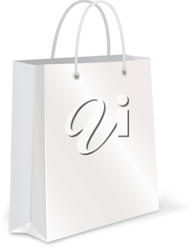 Empty Shopping Bag. White paper package for advertising or branding