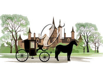Carriage with horse over old city park background.